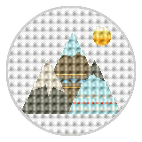 Hey, I found this really awesome Etsy listing at https://www.etsy.com/listing/503754017/mountains-cross-stitch-pattern-instant