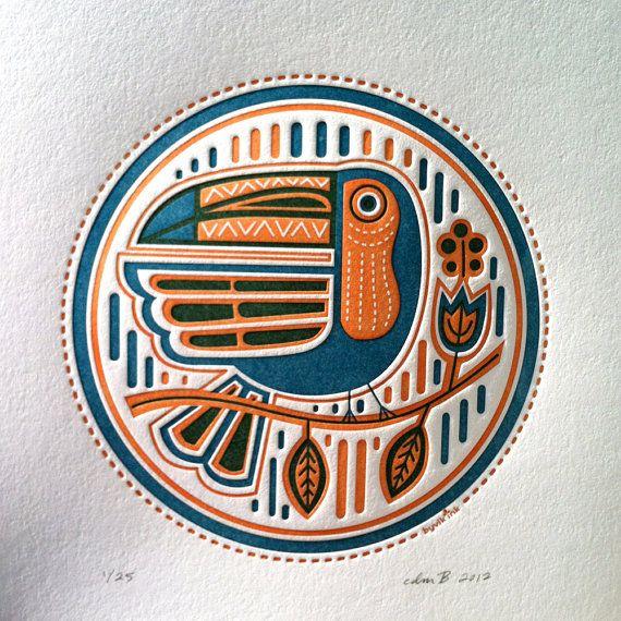 Toucan  letterpress print van byvikINK op Etsy, $32,00