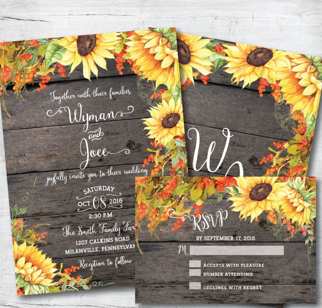 Rustic fall sunflower wedding invitation suite by Posh Paper.