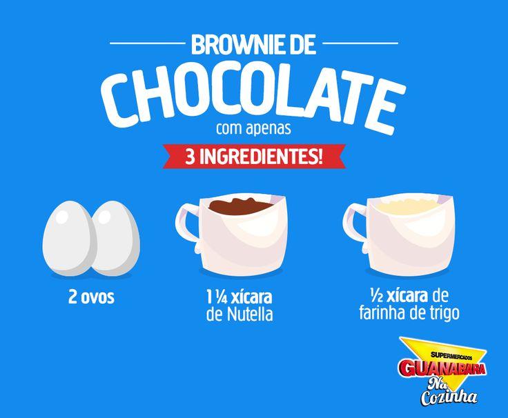 Brownie de chocolate com 3 ingredientes  É MUITO fácil fazer essa receita irresistível! Olha só:  Ingredientes  2 ovos 1 ¼ xícara de Nutella ½ xícara de farinha de trigo  Modo de preparo  Coloque em uma vasilha os três ingredientes e mexa bem até ficar homogêneo. Em seguida, coloque a massa em uma assadeira e leve ao forno a 180ºpor cerca de 15 a 20 minutos. Deixe o brownie esfriar por 30 minutos, corte em fatias e bom apetite. ;)