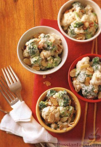 Гарнир из брокколи и цветной капусты, приготовленный в медленноварке