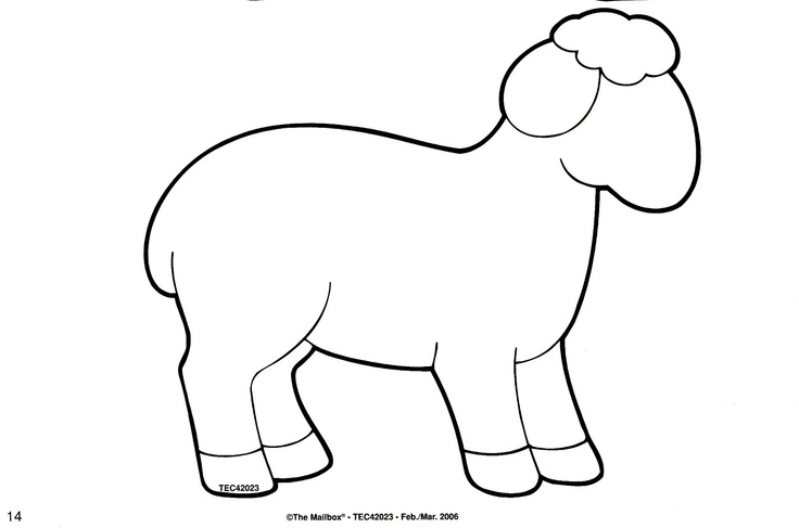 Sheep printable activities colouring pages pinterest for Lamb template to print