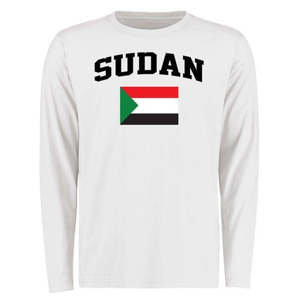 Sudan Flag Long Sleeve T-Shirt - White - $27.99