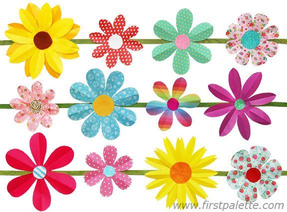 Folding paper flower garland