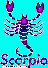 Scorpio Zodiac Sign | Scorpio Astrology Sign Pink & Purple MySpace Glitter Graphic Comment