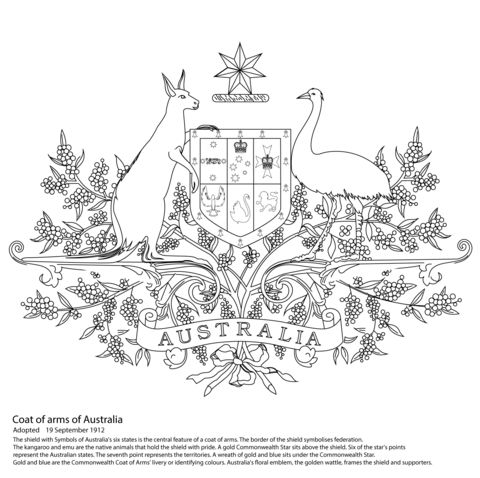Australian Coat of Arms coloring page | Free Printable Coloring Pages