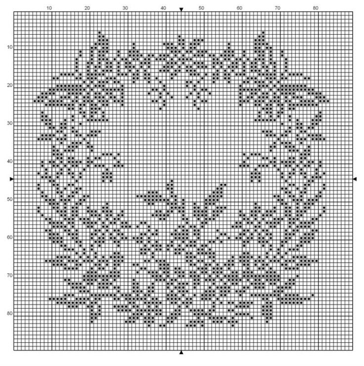 full filet pattern to be used in multiple ways: alone with a finished border, as the center of a tablecloth, or filet bedspread