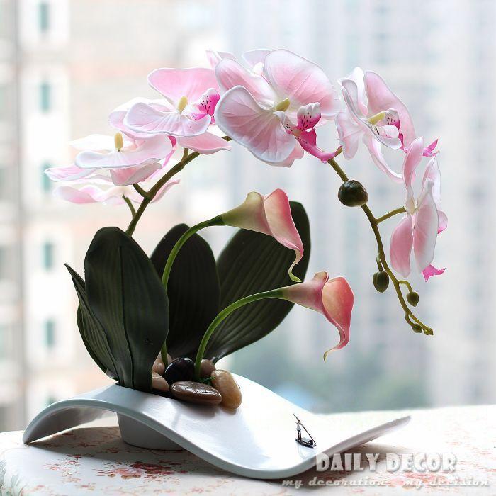 Ikebana Floral Arrangement Lilies | Fancy handmade ikebana artificial orchid flowers arrangements flores ...