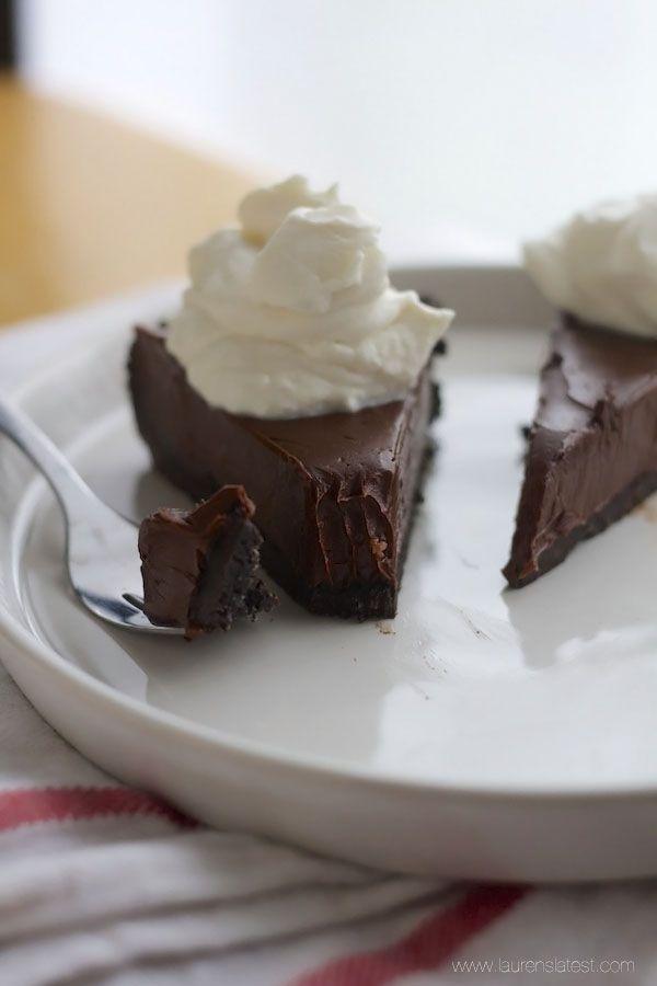 This pie is like fudge in an oreo shell – super chocolaty, rich, decadent, and sooooooooo yummy!!