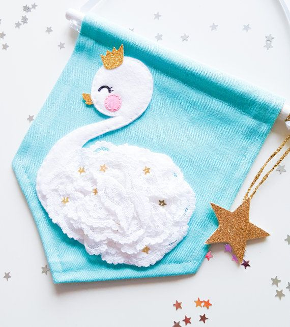 Baby swan mini banner Turquoise by NoodledollNelly on Etsy