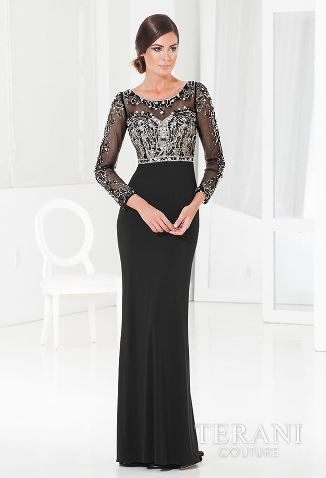Jersey sheath with sweetheart neckline and crystal and sequin embellished mesh overlay on the bodice and sleeves