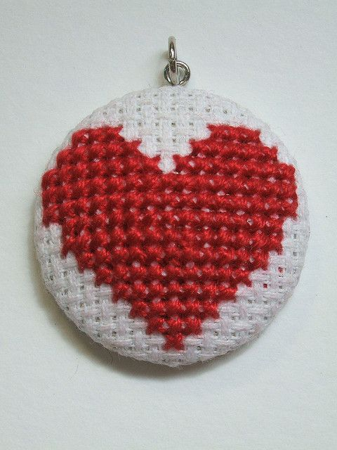 cross stitch heart pendant