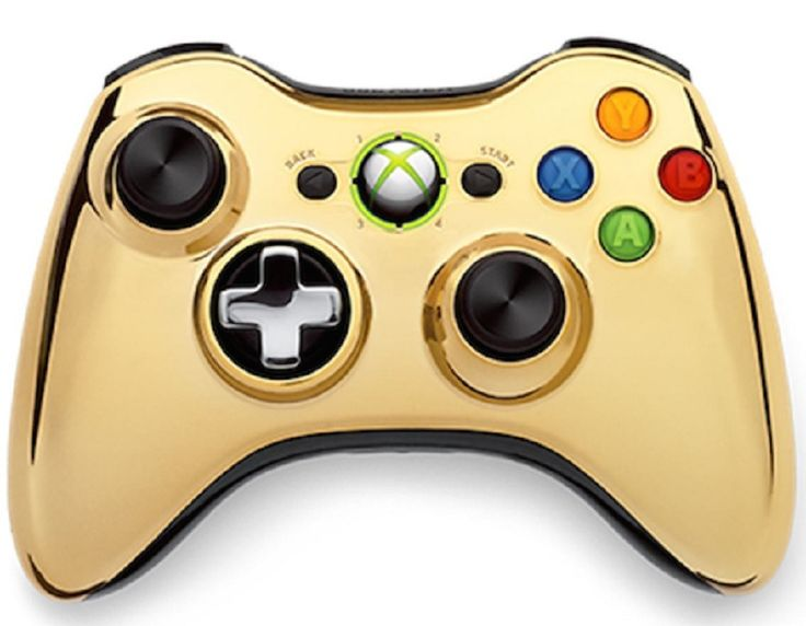 Modded Controller Xbox 360 Gold Chrome