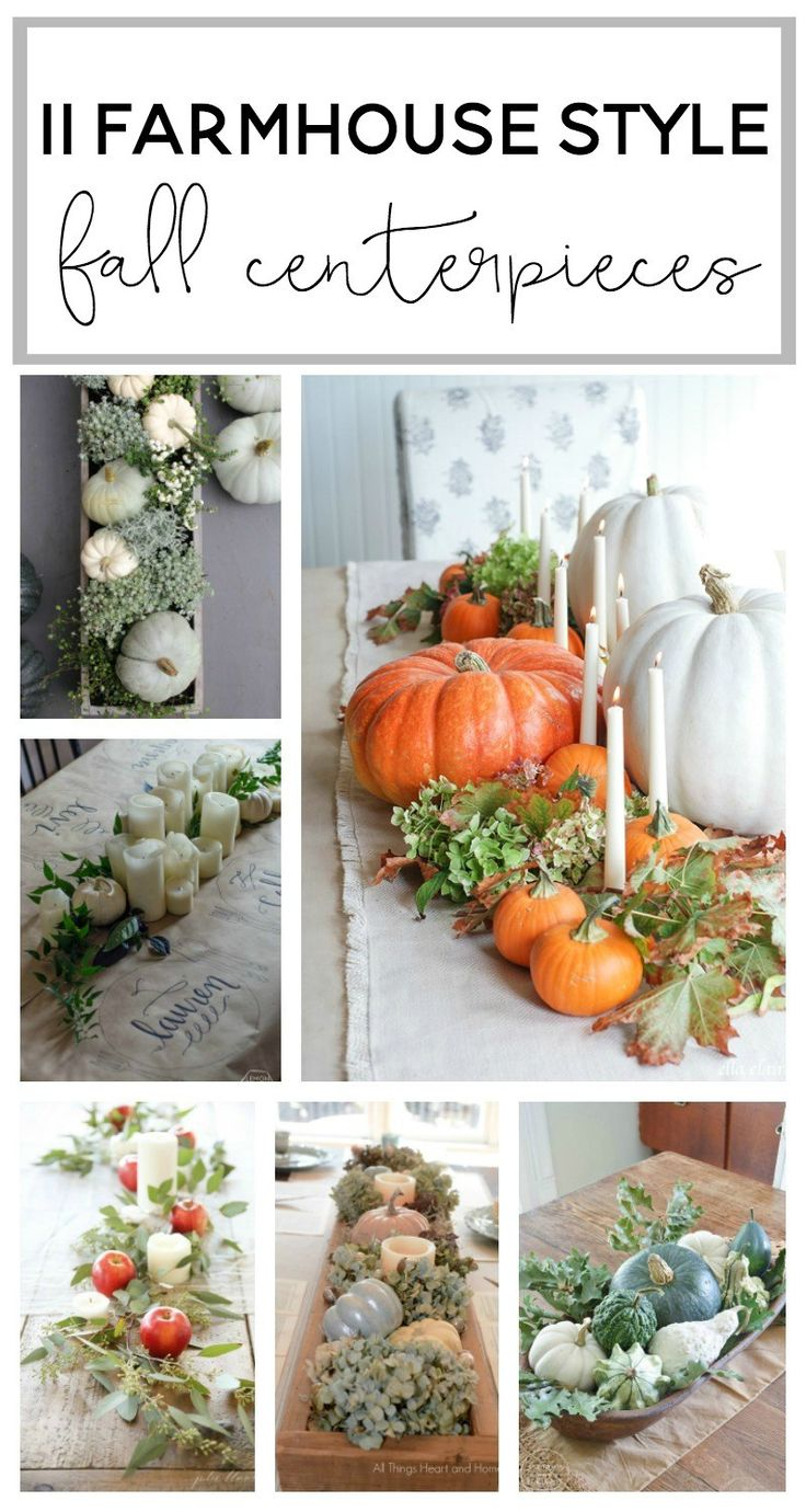 11 Farmhouse Style Fall Centerpieces.  Inspiration…