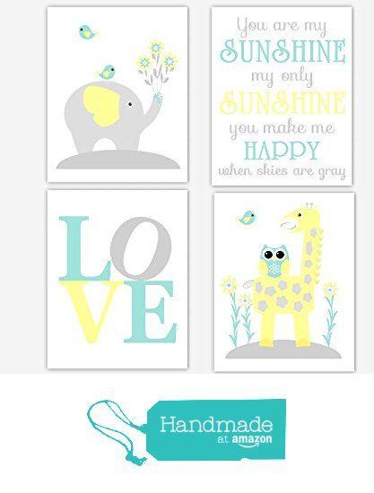 Baby Nursery Wall Art Yellow Teal Aqua Gray Grey Elephant Giraffe Jungle Safari Zoo Animals You Are My Sunshine LOVE Baby Nursery Decor SET OF 4 UNFRAMED PRINTS from Dezignerheart Designs https://www.amazon.com/dp/B01ADH4R0S/ref=hnd_sw_r_pi_dp_iSCCxbBG9GD82 #handmadeatamazon