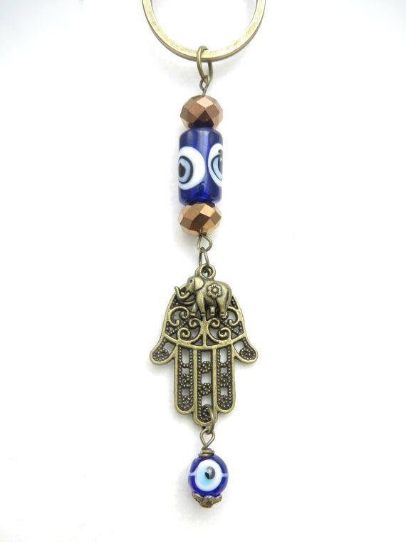 Hamsa elefante llavero Namaste Yoga accesorios azul mal de ojo bolsa encanto moldeada Keychaine bolsa accesorios regalo de cumpleaños para ella bajo 20