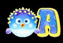 Alfabeto animado de pez globo.
