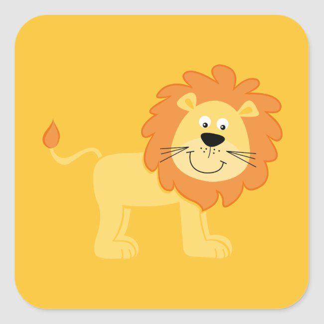 Cute Lion Square Sticker Zazzle Com In 2020 Cute Lion Lion Safari Cute