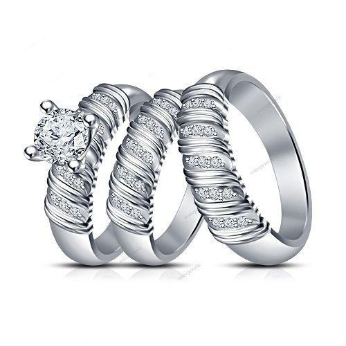 2. CT VVS1 Diamond Surface Prong Setting White Gold Finish Couple Trio Ring Set…