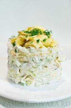 Салат из белокочанной капусты с курицей и яичными блинчиками | Простые кулинарные рецепты с фотографиями