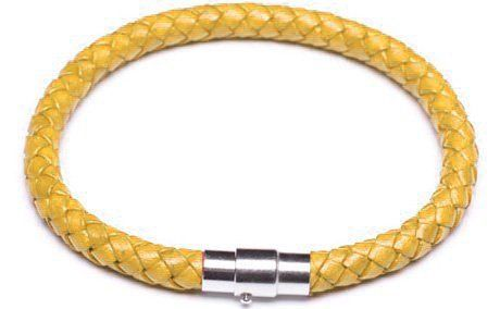 Yellow Braided Leather Cord Bracelet, 6 Millimeters in Width, 7.5 Inches in Length Spire Arts. $7.99. Availabe in many colors; each sold separately!. Measures. Yellow braided leather bracelet. Measures 6 millimeters in width. Fastens with a magnetic high polish clasp. Save 68%!