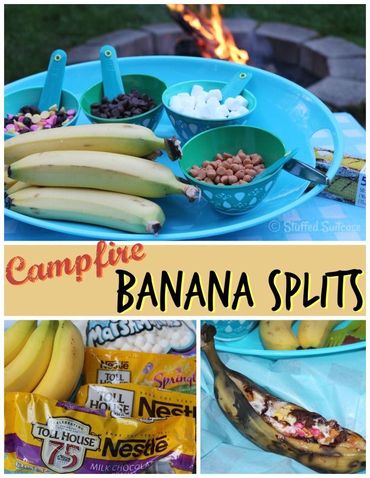 Campfire Banana Split Recipe for Summer Backyard Dessert Fun! StuffedSuitcase.com