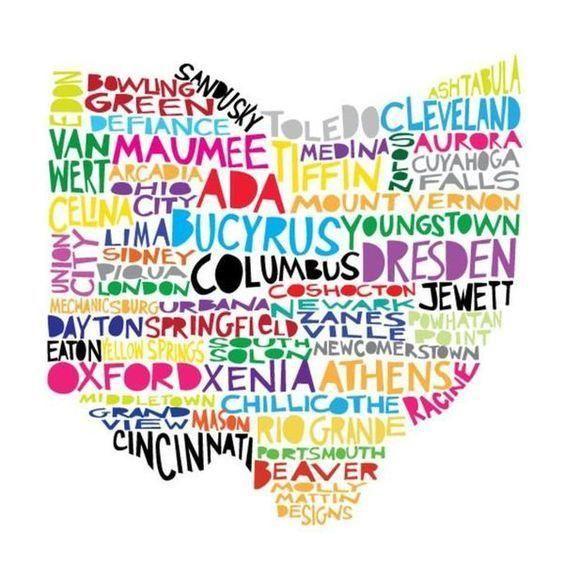Ohio Cities Multi Color Coaster