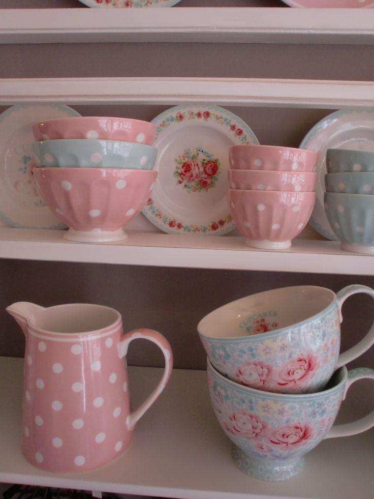GreenGate Stoneware Jug and Bowls Naomi Pink & Mint, Teacups Lulu