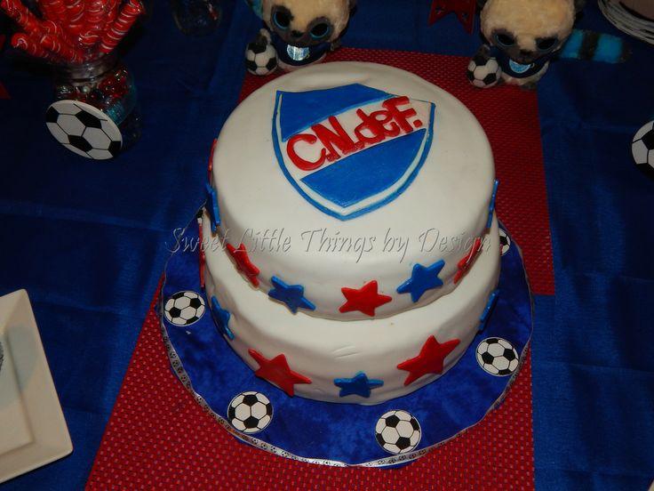 "Uruguay's Soccer Team "" Nacional de Montevideo"" Theme Cake -  For more info call (561)271-3860 or Visit us on https://www.facebook.com/SweetLittleThingsbyDesign"
