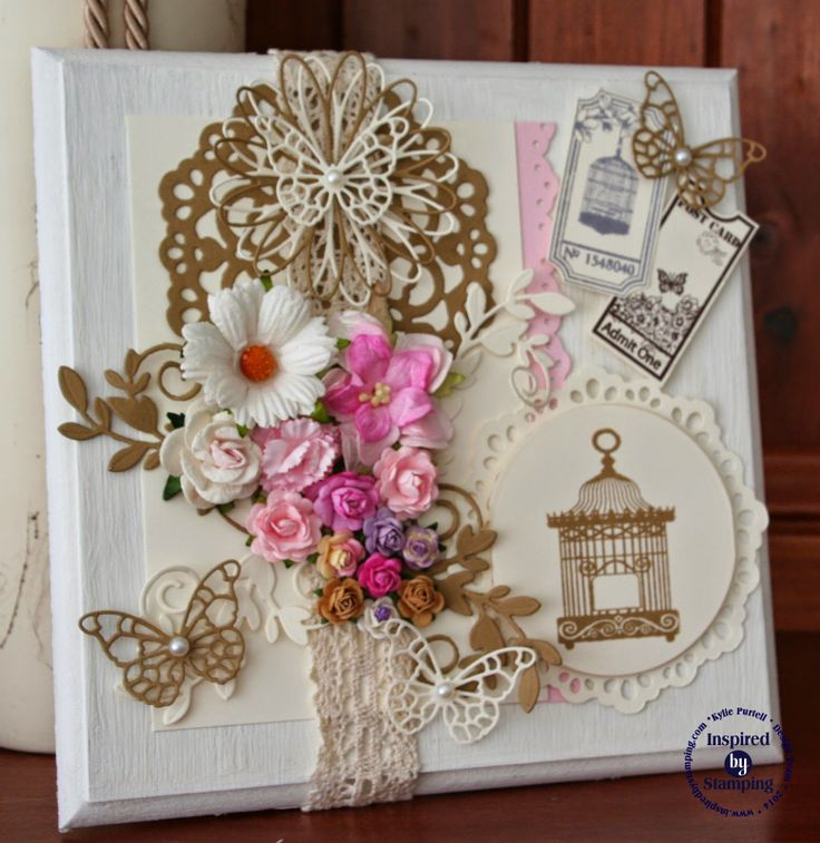 Inspired by Stamping - Vintage Tickets, Sweet Aviary, Vintage Crochet Trim, Wall Plaque, Altered Art