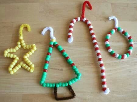 Christmas ornaments diy kids family craft pipe cleaners and beads
