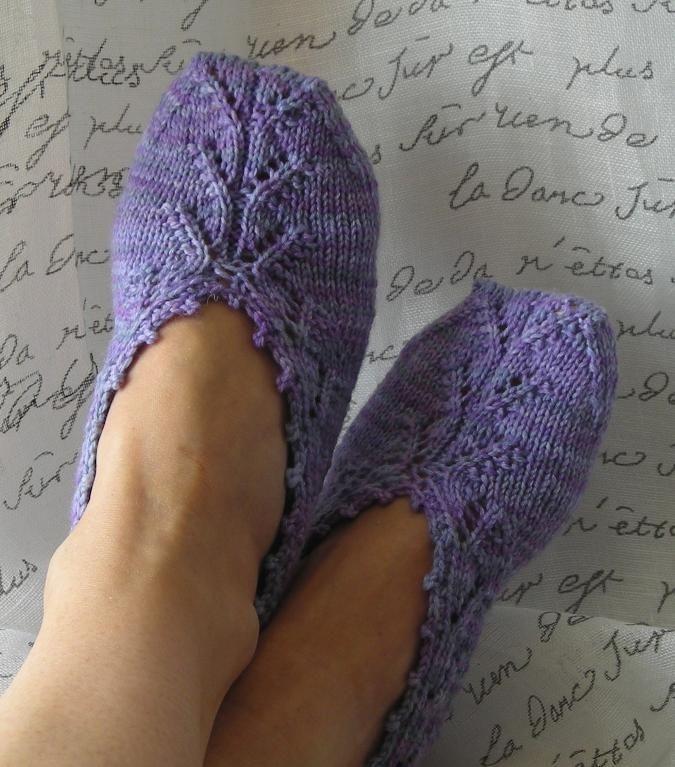 Вязаные следки носочки спицами фиолетовые картинки