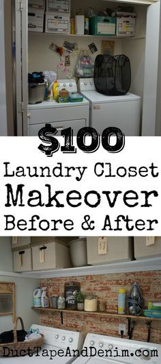My $100 laundry closet makeover, before and after photos of my DIY laundry room updates | DuctTapeAndDenim.com