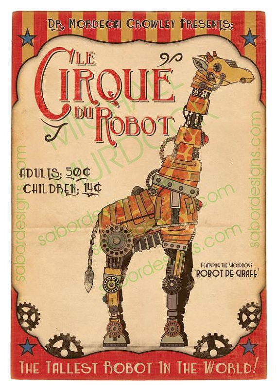 "Retro Robot Giraffe Circus Art Print - Large - 11.7""x16.5"" (A3)"