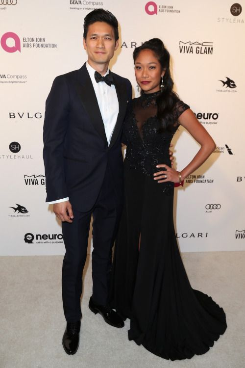 Harry Shum Jr. and Shelby Rabara attend the 24th Annual Elton John AIDS Foundation's Oscar Viewing Party on February 28, 2016