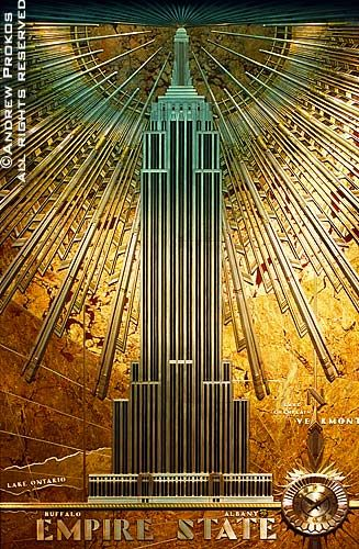 The stunning Art Decó relief that hangs in the lobby of the Empire State Building.