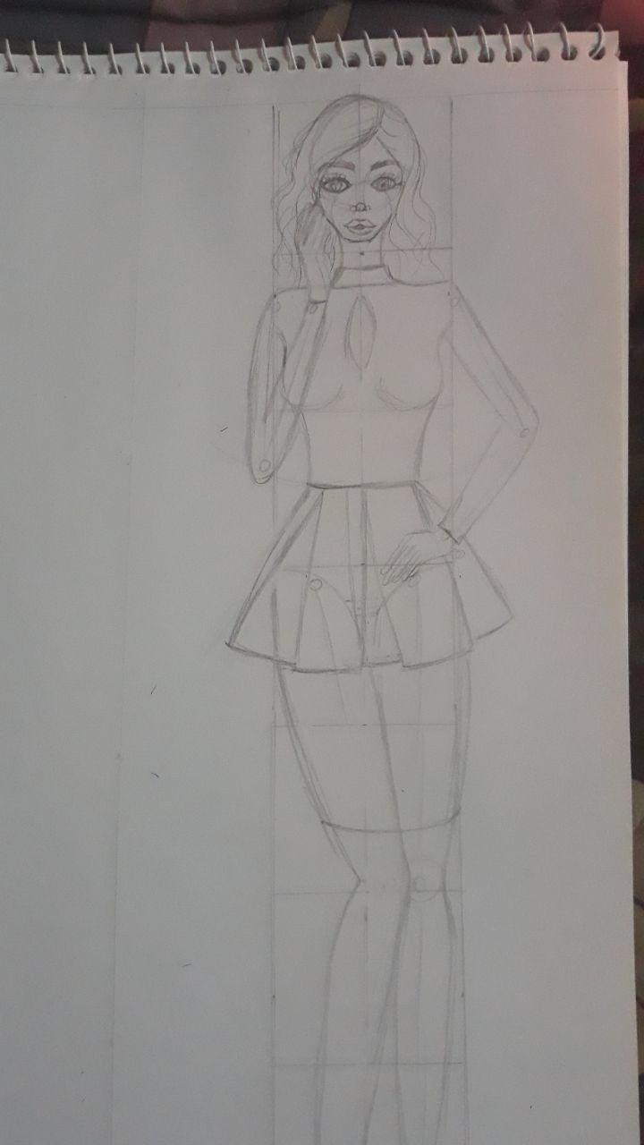 تعليم رسم تصميم الأزياء للمبتدأين يناير 4 2020 في 1 13 Am نبدأ بالمانيكان نقسم طول الطول ٨ اقسام متساوية بعد ما Male Sketch Art Humanoid Sketch