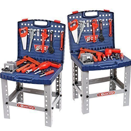 Kids Pretend Play Toys Power Tools Workshop Bench Portable Electric Drill Set #woodworkingbench