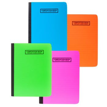 Bulk Colorful Translucent Poly Cover Composition Notebooks, 70-Sheets at DollarTree.com