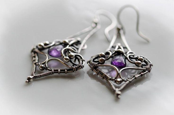 Amethyst silver earring wire wrapped silver earring