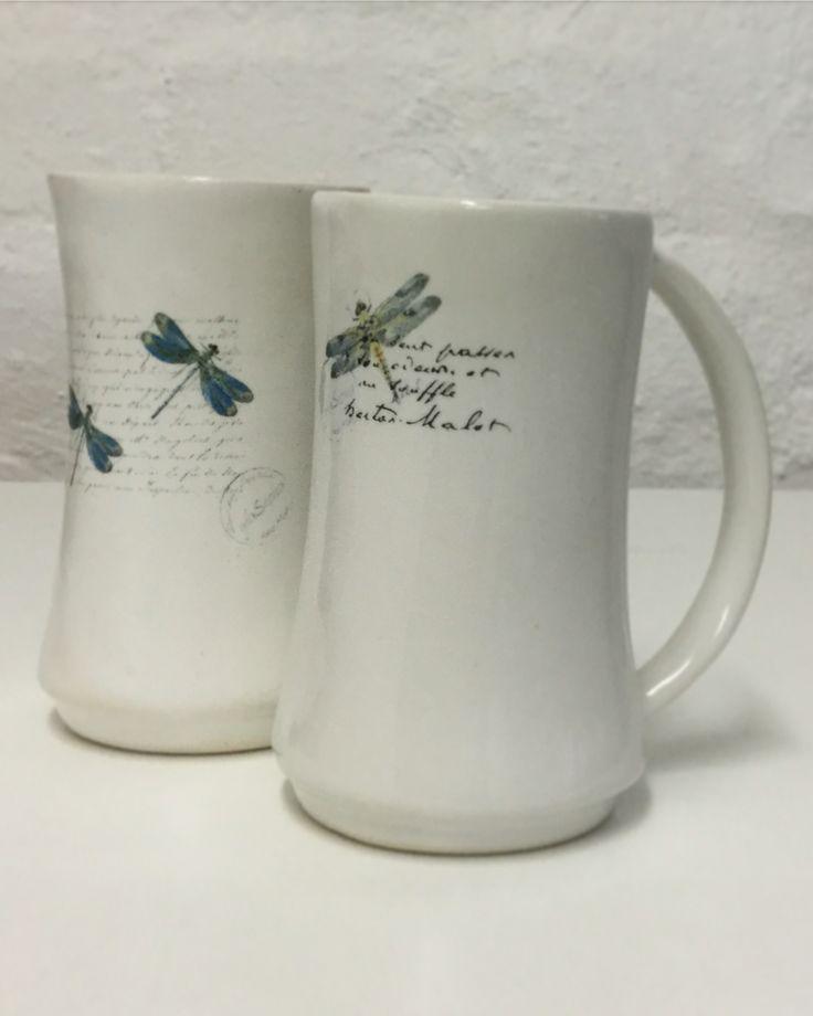 Dragonfly ceramic tea mug