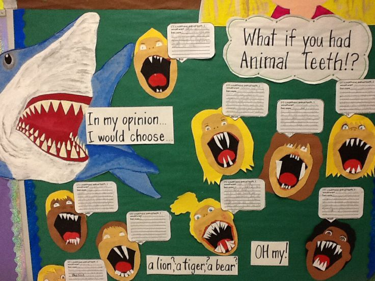 "1st grade opinion writing--- After reading ""What if You Had Animal Teeth"" students write a persuasive response to describe which type of animal teeth they would choose to have and why."