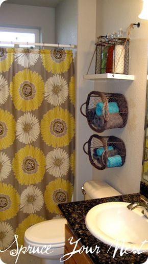 I like the basket on the walls for a towel holder! This website has good tips on how to hip up your space!: Towel Basket, Small Bathroom, Bathroom Storage, Storage Idea, Bathroom Ideas, Shower Curtains, Hanging Baskets