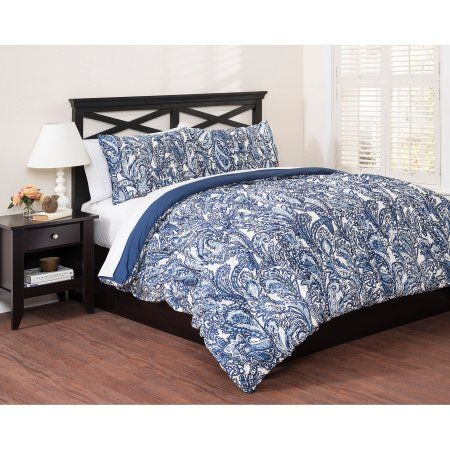 East End Living Vintage Paisley 3-Piece Bedding Comforter Set, Blue