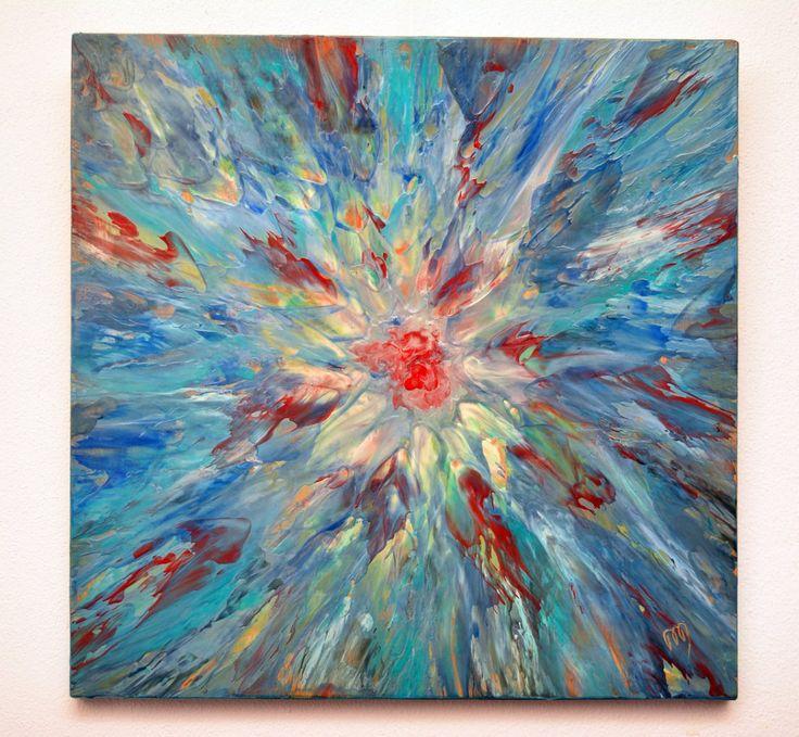 Dana Haidau - Focus, encaustic painting, 44x44cm