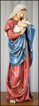 Beautiful Mother's Kiss large statue for church, chapel or home devotion. The Ave Maria Collection celebrates Mary, the Mother of Jesus. With Jesus Christ from birth to crucifixion, Mary's character i