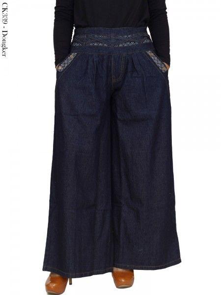 Jual Celana Kulot Bahan Jeans Murah   Warna Biru Dongker Kantong List Batik