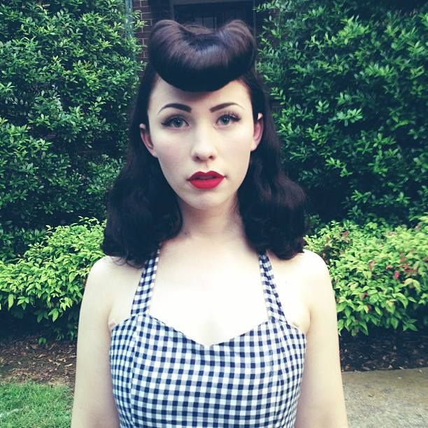 Great hair and gingham! Rockabilly gal.                                                                                                                                                                                 More