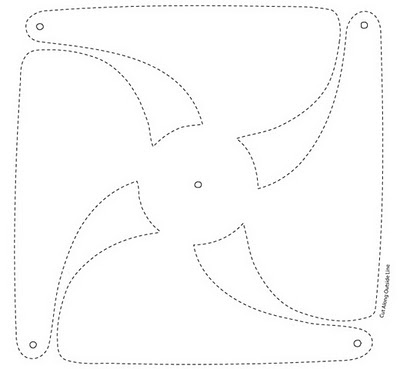 Template for paper windmill - hmmm plenty of Christmas paper and a button coverer to use!