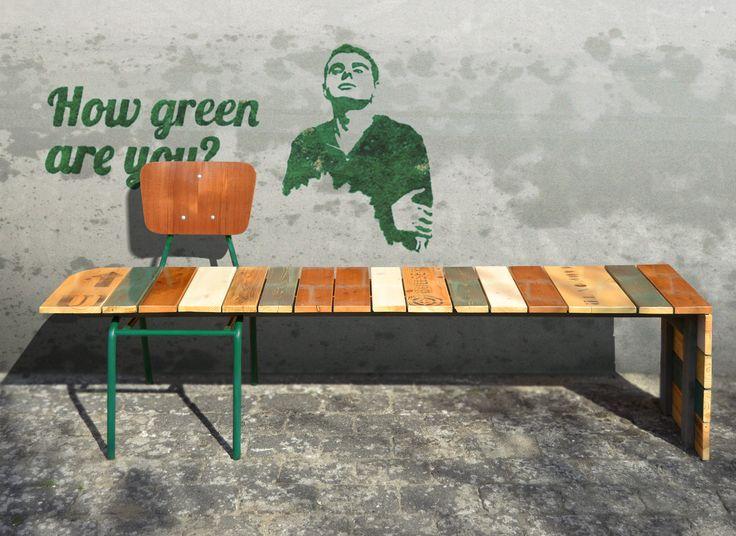 Bench, scrapwood, pallet wood, floor boards, vintage chair, school chair